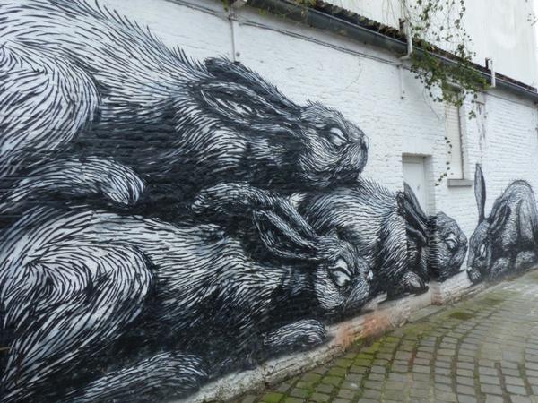 Street Art Gant Europe Lapins Roa