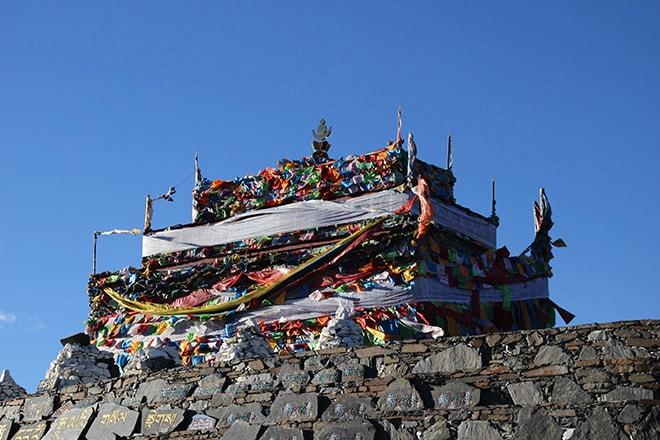 Drapeaux de prieres Tagong Sichuan Chine