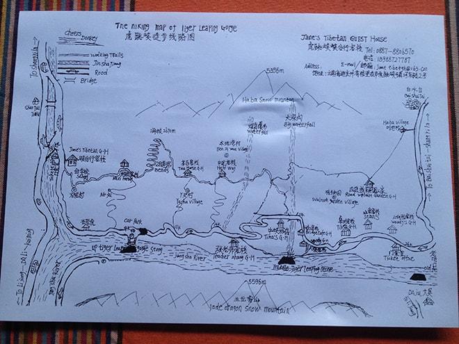 Plan du Trek des Gorges du Saut du Tigre Yunnan Chine