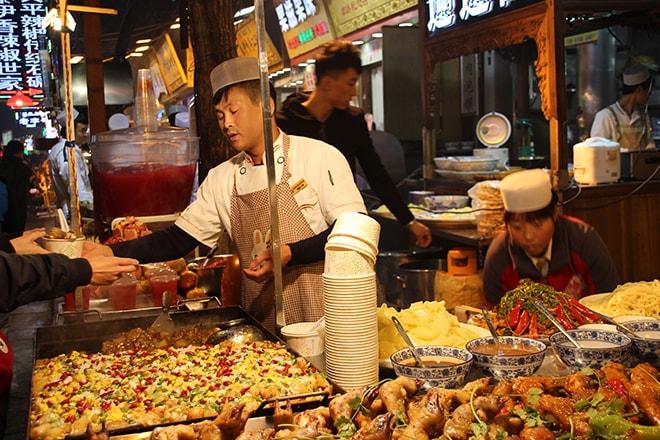 Stand nourriture quartier musulman Xian Chine