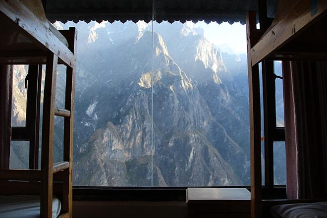 Vue chambre Half Way guesthouse Trek des Gorges du Saut du Tigre Yunnan Chine