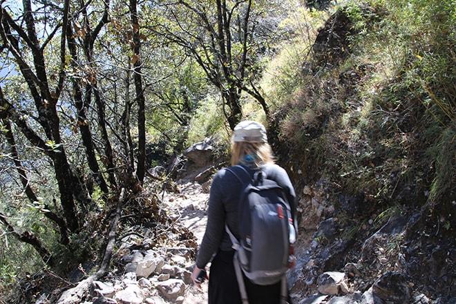 dans la foret Trek des Gorges du Saut du Tigre Yunnan Chine