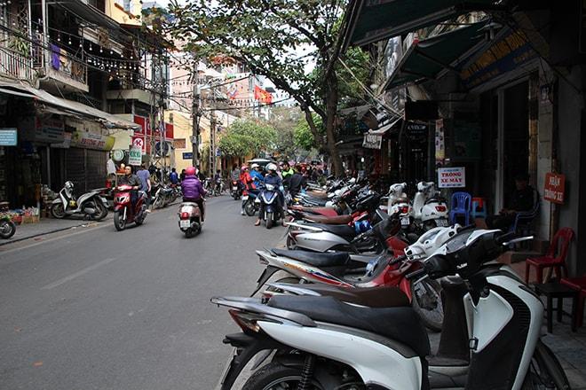 Invasion scooters Hanoi Vietnam