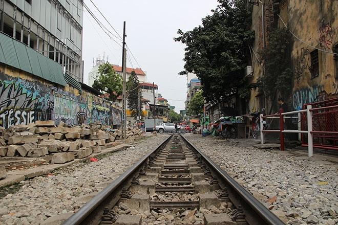 rails dans la ville Hanoi Vietnam