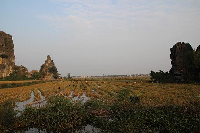 Coucher de soleil sur les rizières Tam Coc Vietnam