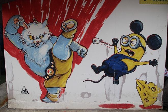 Chat mignon Street Art Penang Malaisie