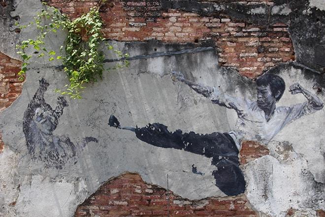 Kung Fu Street Art Penang Malaisie