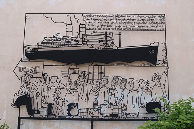 Street Art fer forge noir Penang Malaisie
