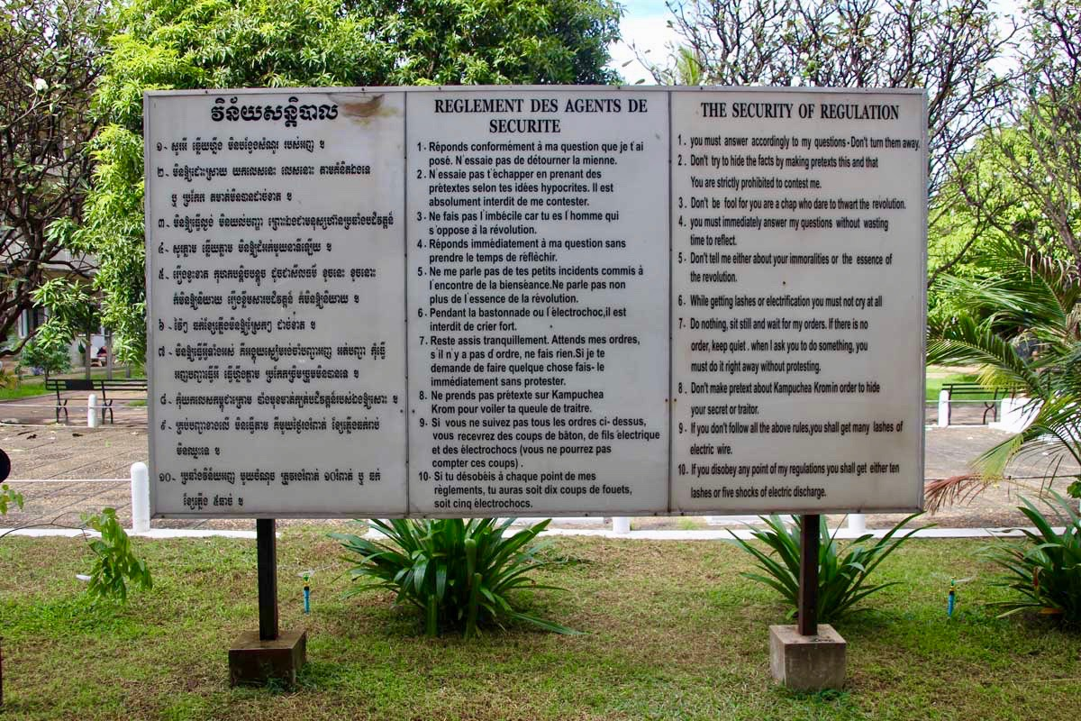 regles musee S21 Phnom Penh