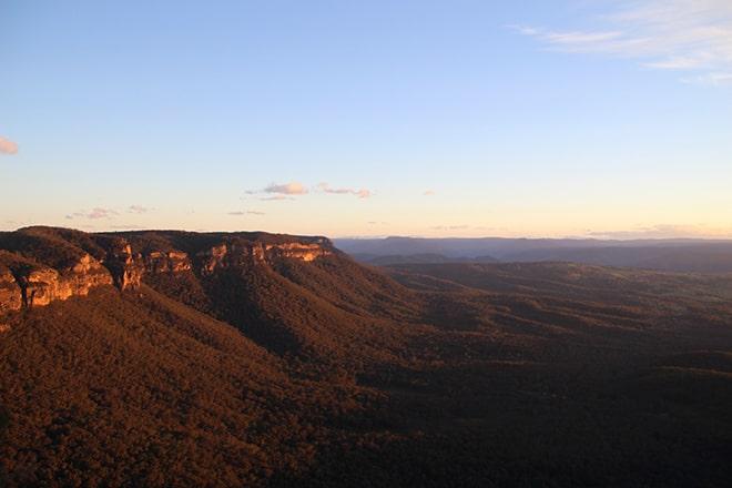Vue Coucher de soleil Blue Mountains Australie