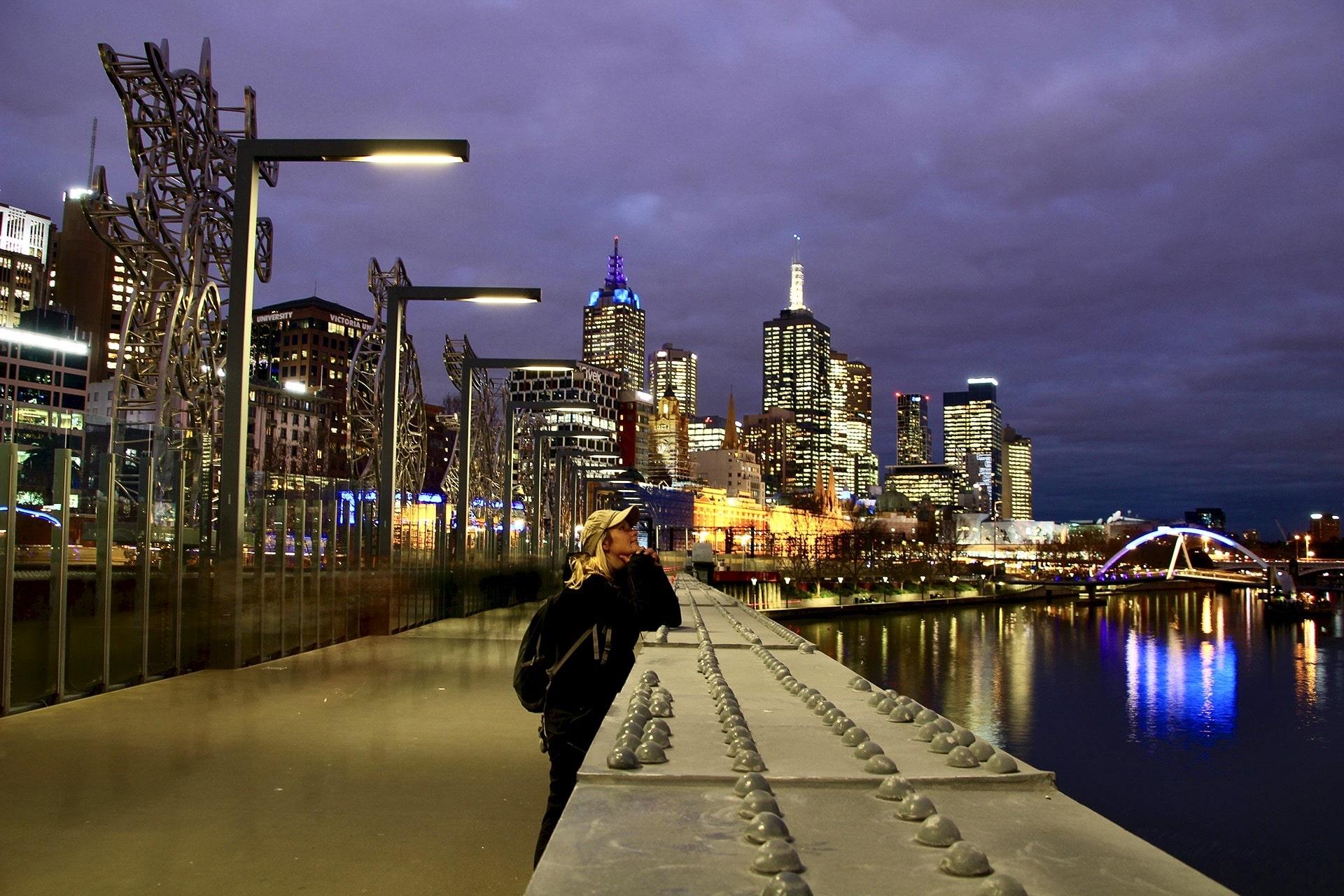 Skyline Melbourne de nuit